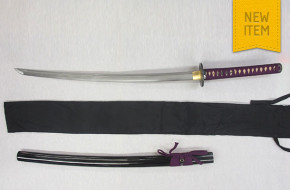 Hand Forged Damascus Samurai Sword (Purple Handle)