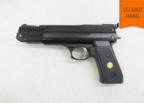 """Woody's are pleased to be able to offer this exceptionally clean example of a British made .22 caliber Webley """"Nemesis"""" single stroke pneumatic recoiless pistol. £110 – 00 inc 3 month guarantee"""